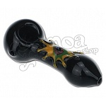 Black Glass Pipe With Star Design 10 cm