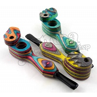 Colorful wooden pipe with lid 10,5 cm