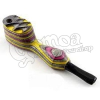 Colorful wooden pipe with lid 11,5 cm