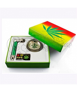 Metal Tobacco Pipe with Free Grinder or Lighter